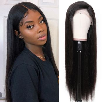Donmily Straight 13x4 Lace Fake Scalp Wig 150 Density Virgin Hair