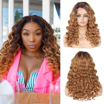 Donmily Wavy Synthetic Wig With Lace Hair Part Color T4/27#