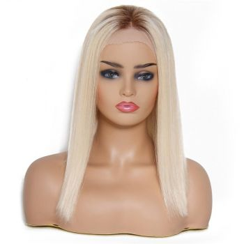 Blunt Cut Straight Human Hair Lace Front Wigs Gradient Ramp T4/613#, Straight Hair Bob Wigs Blond T4/613#