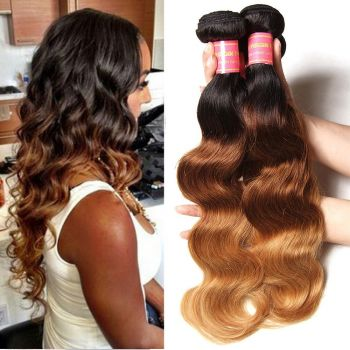 Donmily 4 Bundles Indian Ombre Body Wave Human Hair Three Tone Indian Ombre Hair Weave