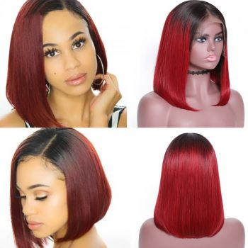 Donmily Malaysian Bob 13*4 lace front wig T99J color 150% density  Super  Affordable  virgin human hair
