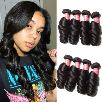 Donmily Malaysian Loose Wave 4 Bundles Deals, 100% Virgin Human Hair Weaves