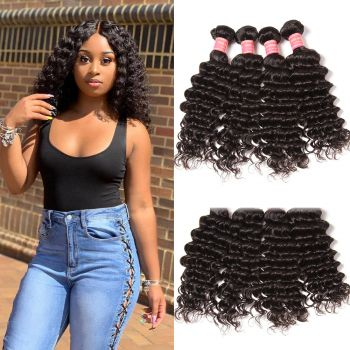 Donmily 4pcs/Lot Virgin Indian Deep Wave Hair Weft Human Hair Extensions