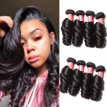 Donmily 9A Remy Indian Loose Wave Hair 4 Bundles Unprocessed Human Hair Weave Natural Color