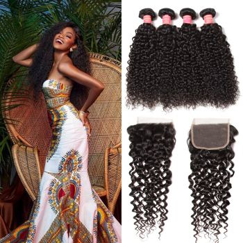 Donmily Brazilian Curly Hair 4 Bundles with 4x4 Lace Closure