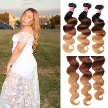 Donmily Malaysian Ombre Human Virgin Hair 3pcs/pack Three Tone Ombre Body Wave Virgin Hair (#1B/4/27)