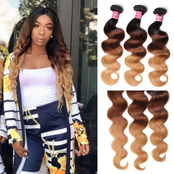 Donmily Indian Ombre Human Virgin Hair 3pcs/pack Three Tone Ombre Body Wave Virgin Hair (#1B/4/27)