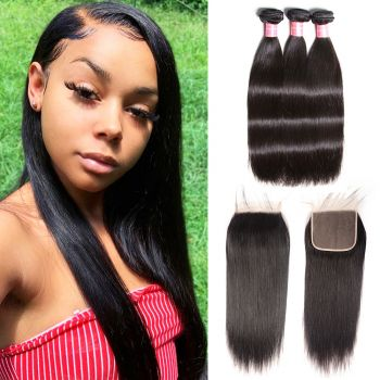 Donmily 3 Bundles Peruvian Straight with 6x6 Lace Closure