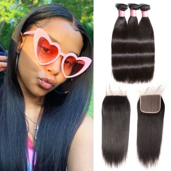 Donmily High Quality 3 Bundles Malaysian Straight Hair with 6x6 Lace Closure For Black Women