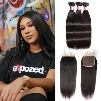 Donmily 3 Bundles Indian Straight Hair with 6x6 Lace Closure