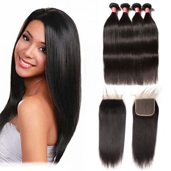 Donmily 4 Bundles Indian Straight Hair With 6x6 Lace Closure