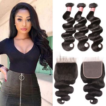 Donmily New Arrived 3 Bundles Peruvian Body Wave Hair With 7*7 Lace Closure