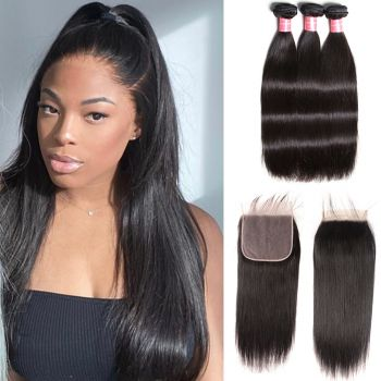 Donmily New Arrived 3 Bundles Peruvian Straight Wave Hair With 7*7 Lace Closure
