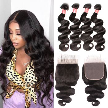 Donmily Peruvian Body Wave 4 Bundles Hair with 7x7 Lace Closure
