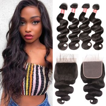 Donmily Malaysian Body Wave 4 Bundles with 7x7 Lace Closure
