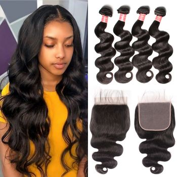 Donmily New Arrived 4 Bundles Indian Body Wave Hair With 7*7 Lace Closure