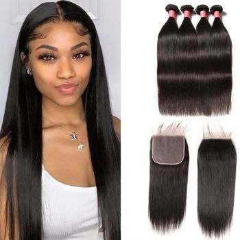 Donmily Peruvian Straight Lace Closure 7*7 Inch With Human Hair 4Bundles