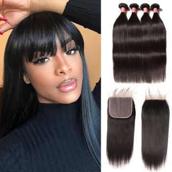 Donmily Malaysian Straight 7*7 Lace Closure  With Human Hair 4Bundles