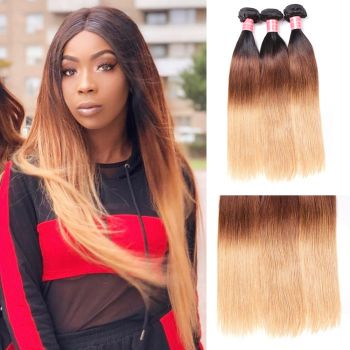 Donmily Indian 3 Bundles Straight Three Tone Ombre Hair