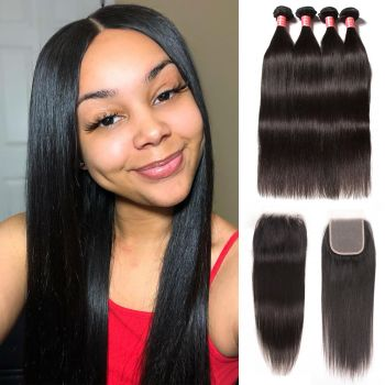 Donmily Brazilian Straight Virgin Hair 4 bundles with 4x4 Free Part Lace Closure