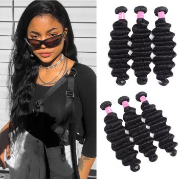 Donmily Remy Loose Deep Wave 3 Bundles Human Hair