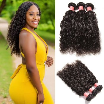 Donmily Brazilian Water Wave Human Hair 3 Bundles Natural Color