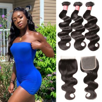 Donmily Malaysian Body Wave 4x4 Lace Closure 3 Bundles