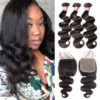 Donmily  Unprocessed 3 Bundles Brazilian  Body Wave Hair With 6x6 Lace Closure For Women