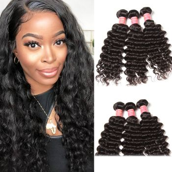 Donmily Malaysian Deep Wave Curly Hair 3 Bundles,Virgin Hair Extentions