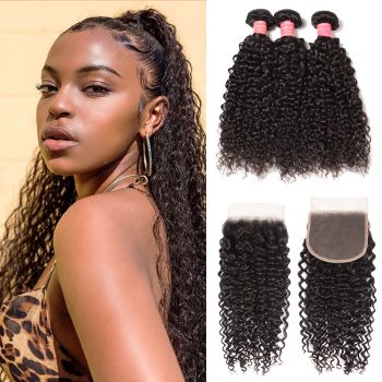 Donmily Jerry Curly Hair 3 Bundles With 5x5 Transparent Lace Closure