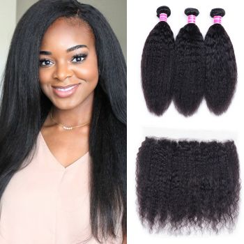 Donmily Kinky Straight Hair 3 Bundles with 13x4 Lace Frontal