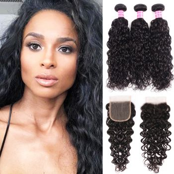 Donmily New Loose Wave Virgin Hair 3 bundles with 4x4 Free Part Lace Closure
