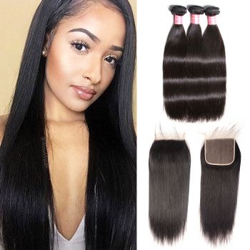 Donmily 3 Bundles Brazilian Straight with 6x6 Lace Closure