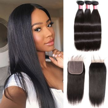 Donmily   New Arrived 3 Bundles Brazilian Straight Wave Hair With 7*7 Lace Closure