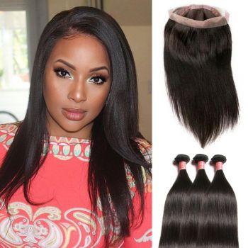 Donmily 3 Bundles Straight Human Hair Weave Bundles with 360 Frontal Closure