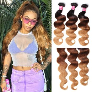Donmily Peruvian Ombre Human Virgin Hair 3pcs/pack Three Tone Ombre Body Wave Virgin Hair (#1B/4/27)