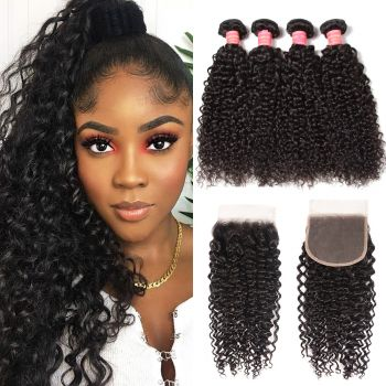 Donmily Jerry Curly Brazilian Hair 4 Bundles With 5x5 HD Lace Closure Sew In