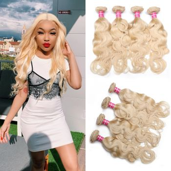 Donmily Hair Color 613 Blonde 4Bundles Body Wave Weave