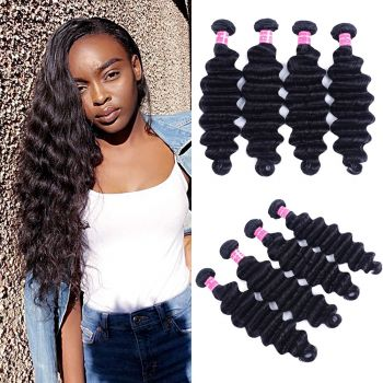 Donmily Loose Deep Wave 4Bundles 100% Virgin Human Hair