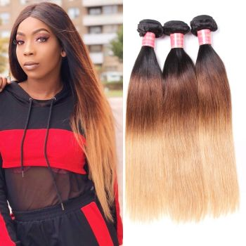 Donmily Straight Malaysian Three Tone Ombre Hair 3 Bundles