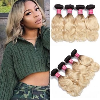 Donmily T1b/613 Hair Color Body Wave 4 Bundles Ombre Human Hair Weave