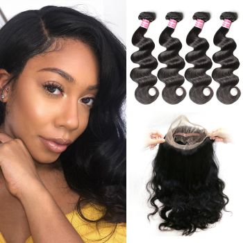 Donmily Body Wave 4 Bundles with 360 Lace Frontal Closure Human Hair Weave