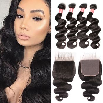 Donmily Brazilian Body Wave 4 Bundles with  7x7 Lace Closure