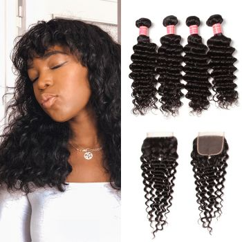 Donmily Deep Wave Hair 4 Bundles  with 4*4 Lace Closure