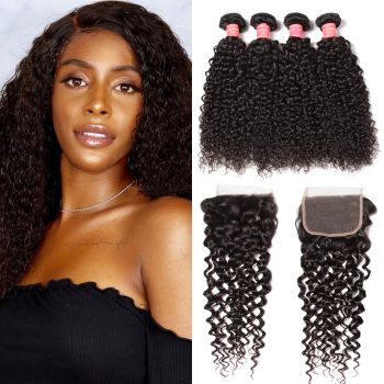 Donmily Indian Jerry Curly Virgin Hair 4 bundles with 4x4 Free Part Lace Closure