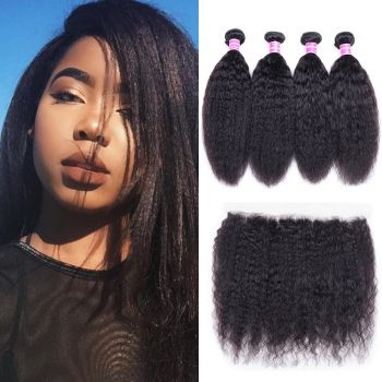 Donmily Classic Virgin Kinky Straight Hair 4 Bundles With 13x4 Inch Lace Frontal