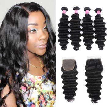 Donmily 4 Bundles Loose Deep Wave With 4x4 Inch Closure Virgin Human Hair