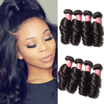 Donmily 9A Remy Brazilian Loose Wave Hair 4 Bundles Unprocessed Human Hair Weave Natural Color