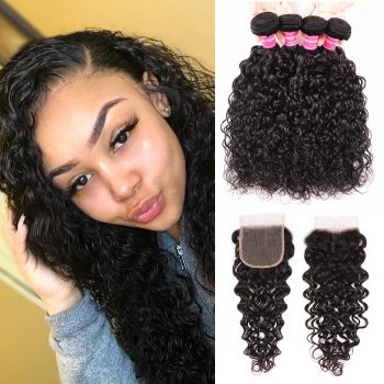 Donmily New Loose Wave Virgin Hair 4 bundles with 4x4 Free Part Lace Closure