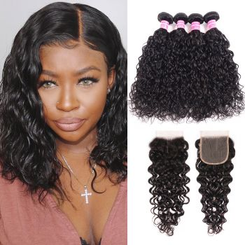 Donmily Natural Wave Virgin Hair 4 bundles with 4x4 Free Part Lace Closure